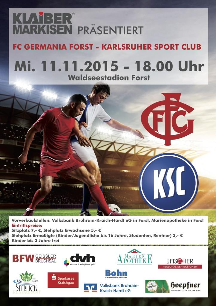 Plakat FC Germania Forst KSC Karlsruher SC 11.11.2015